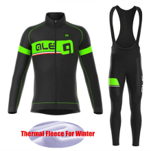 Fluorescent green Cycling Jersey Winter Thermal Fleece Cycling Clothing Sets Men Bicycle Wear Winter Maillot Ciclismo hombre
