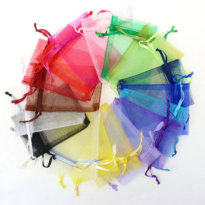 Household 100pcs/lot Drawable White Small Organza Bags Favor Wedding Christmas Gift Bag Jewelry Packaging Bags Pouches