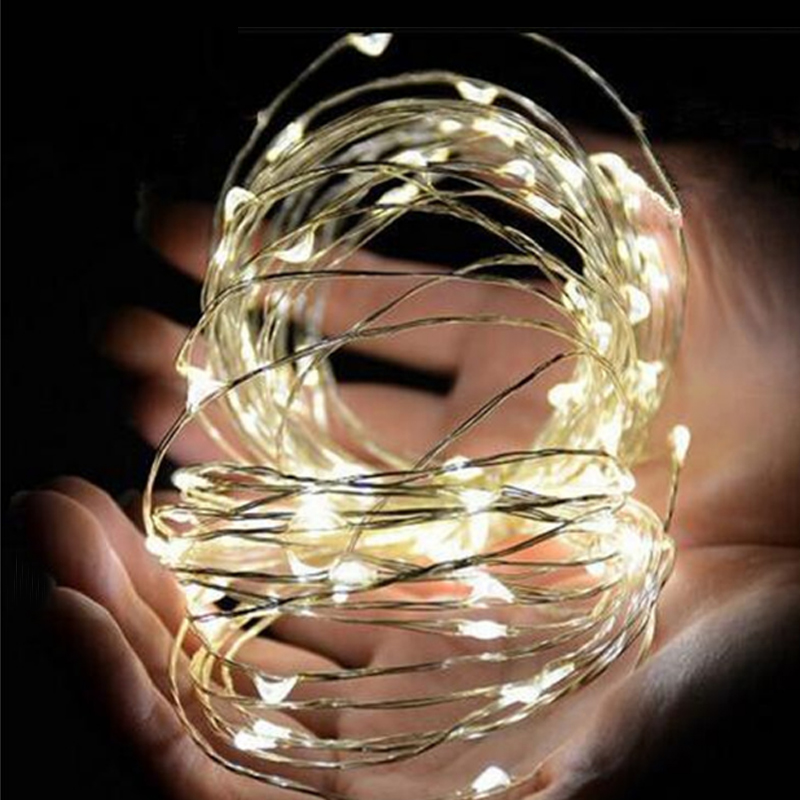2M 5M 10M led AA Battery Powered Decorative LED Copper Wire Fairy String Lights for Christmas Holiday Wedding and Parties
