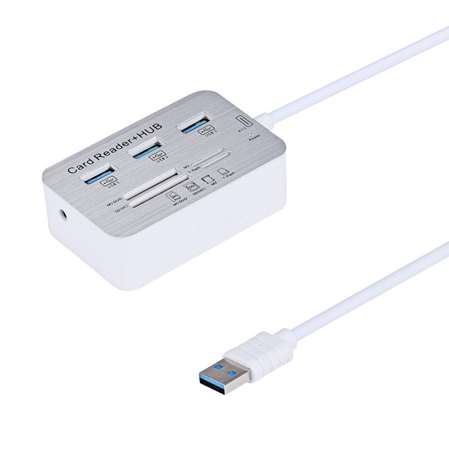 Adroit drop shipping 3 Port Aluminum USB 3.0 Hub With MS SD M2 TF Multi-In-1 Card Reader DEC3 nz f 33 6 5x16 5x114 3 et45 d60 1 bkf