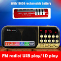 Оптовая С 18650 Аккумуляторные Батареи Портативный USB TF Спикер Бас Повышения MP3 Аудио Плеер FM Радио Часы