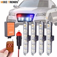 4Pcs 6LED Strobe LED Car Warning Lights Wireless Remote Blinking Police LED Light Bar for Cars Truck Emergency Auto LED Lamps