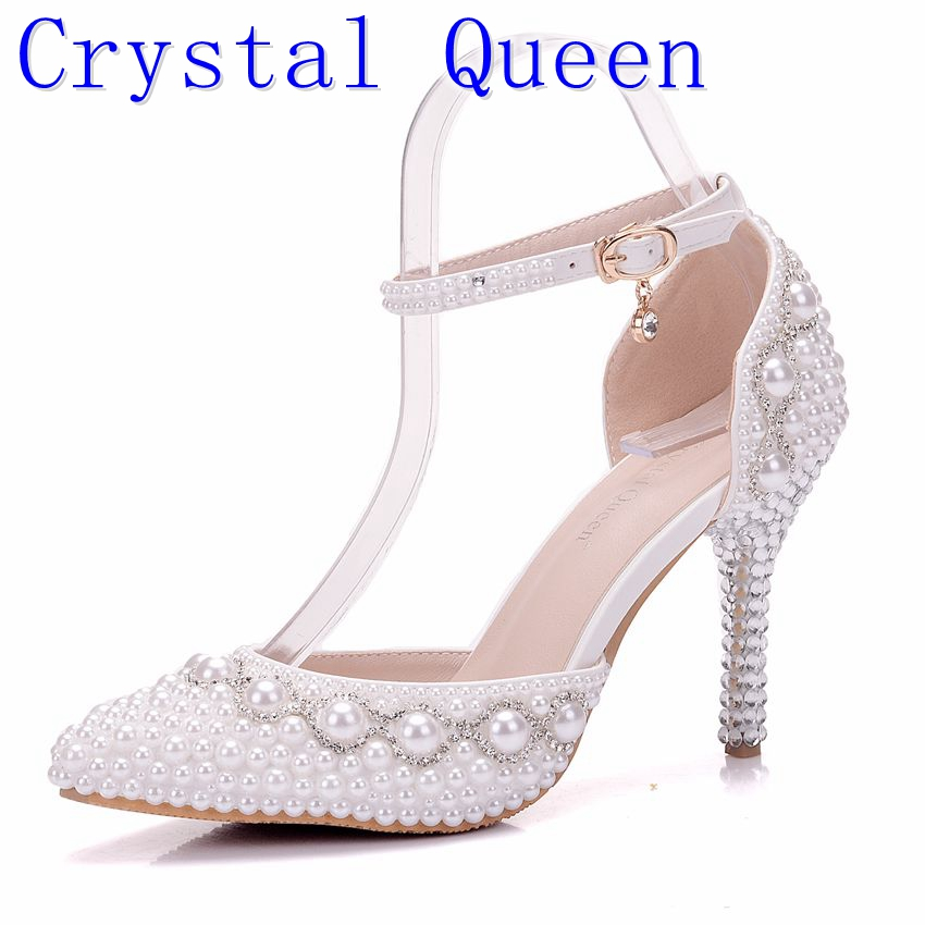 Crystal Queen Women Summer White Pearl Diamond Wedding Shoes High Heels  Bride Dress Shoes Show Party Sandals Pieces Buckles 55e4c0d2d948