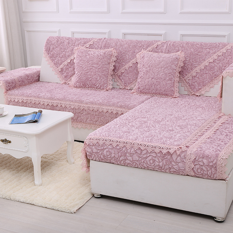 1 Piece Pink Sofa Cover Stripe Printed Soft Modern Slip