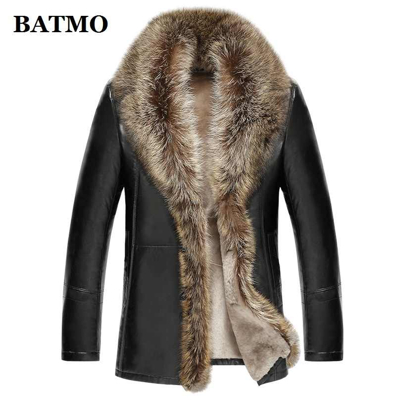 BATMO 2018 new arrival winter high quality real leather raccoon fur collars trench coat men ,men's winter Wool Liner parkas AL17