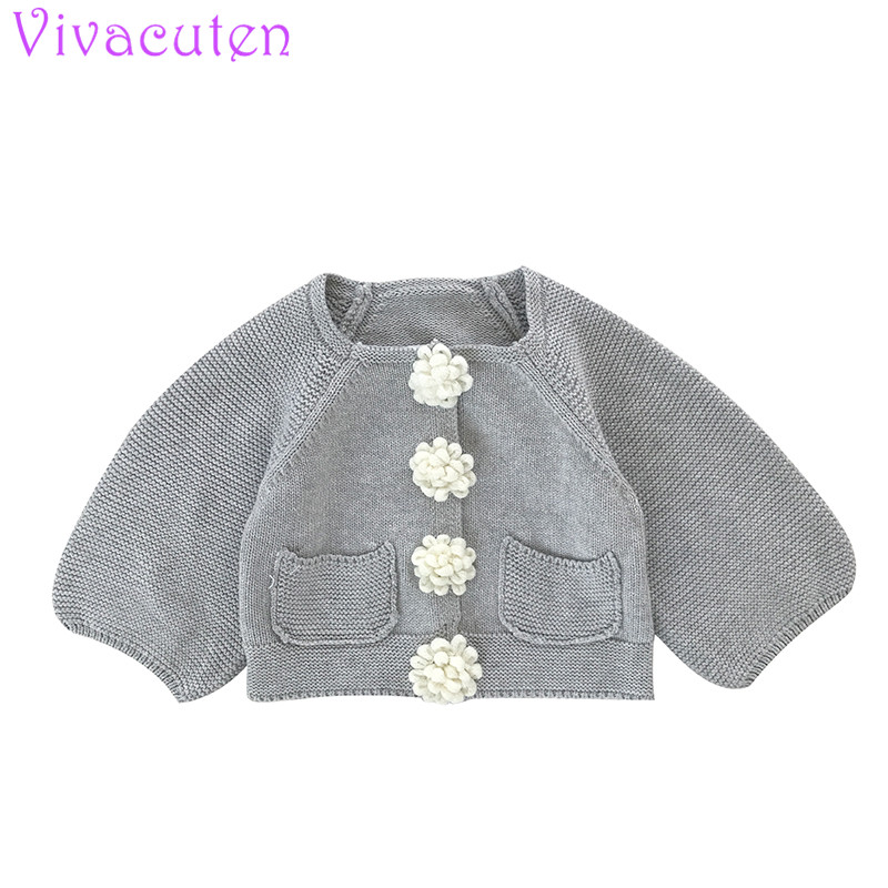 цены Baby Girl Autumn Cardigan Jacket Children Knitted Long Sleeved Solid Color with floral ball Lace Coat Kids Clothing