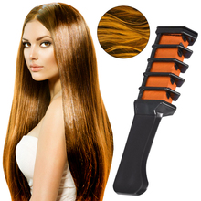 Moda 6 kolorów włosów tymczasowe kredki kredki grzebień do farbowania włosów narzędzia do samodzielnej stylizacji krem do tymczasowego farbowania włosów dla kobiet mężczyzn tanie tanio ibcccndc ---- 0 24 lb 1pcs Hair Chalk Combs Red Blue Green Orange Purple Pink Support