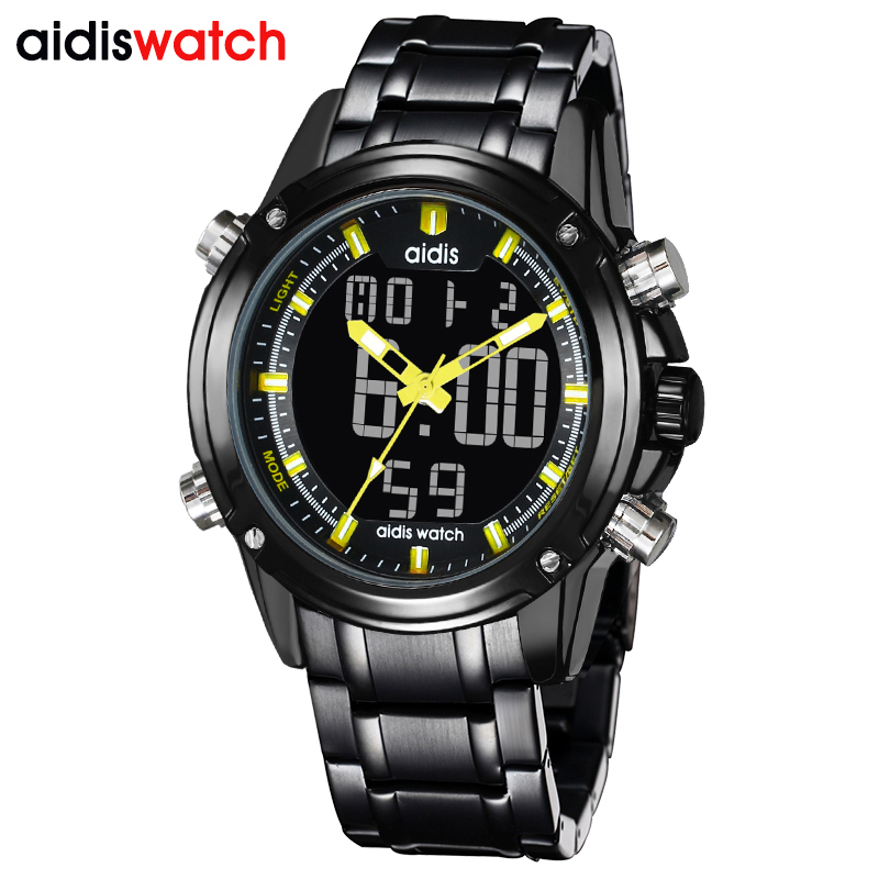 Aidis men's stainless steel sports watches top brand casual waterproof LED Digital military quartz watch men clock reloj hombre 2016 hot brand gimto quartz digital sports watches men leather nylon led military army waterproof diving wristwatch reloj hombre