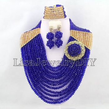 Royal Blue Statement Necklace Nigerian Wedding African Beads Jewelry Set Costume Plated Free Ship HD5004