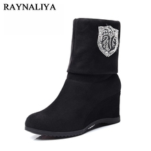 2017 New Fashion Wedge High Heel Kid Suede Mid Calf Boots Crystal Sexy Ladies Snow Boots Autumn Winter Keep Warm Shoes YG-A0001 autumn winter new suede leather female beautiful fringe boots sexy high heel long tassel mid calf boots tide women mid calf boot