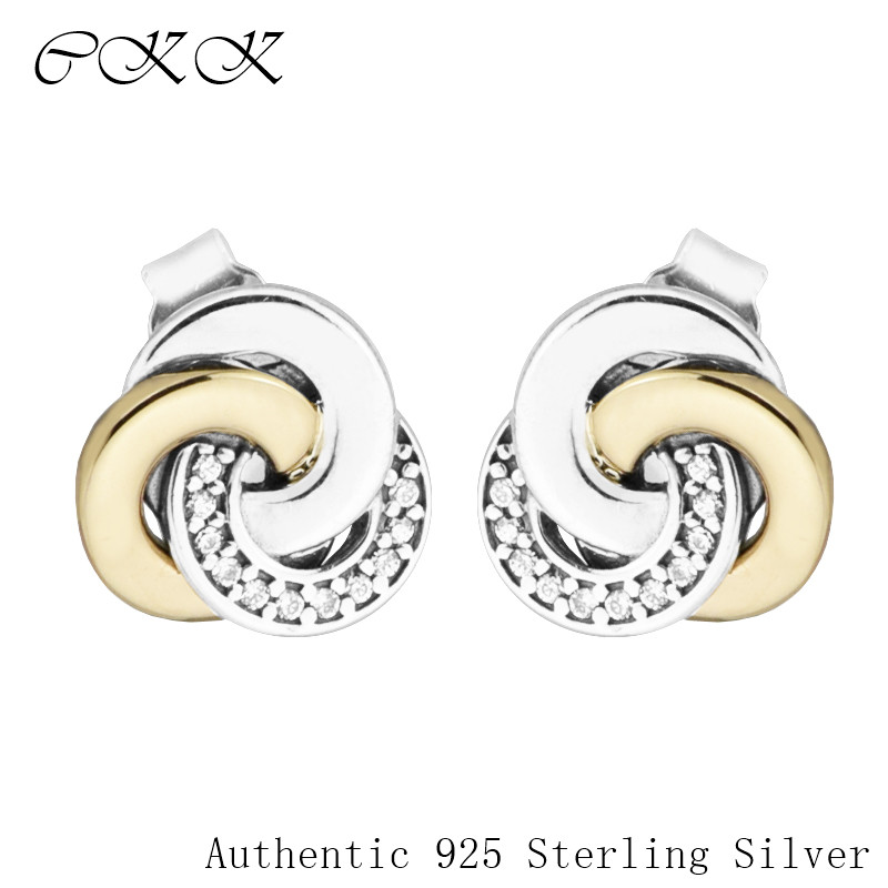 14K Real Gold Interlinked Circles Earrings Genuine 925 Sterling Silver Jewelry Two Tone Stud Earrings for