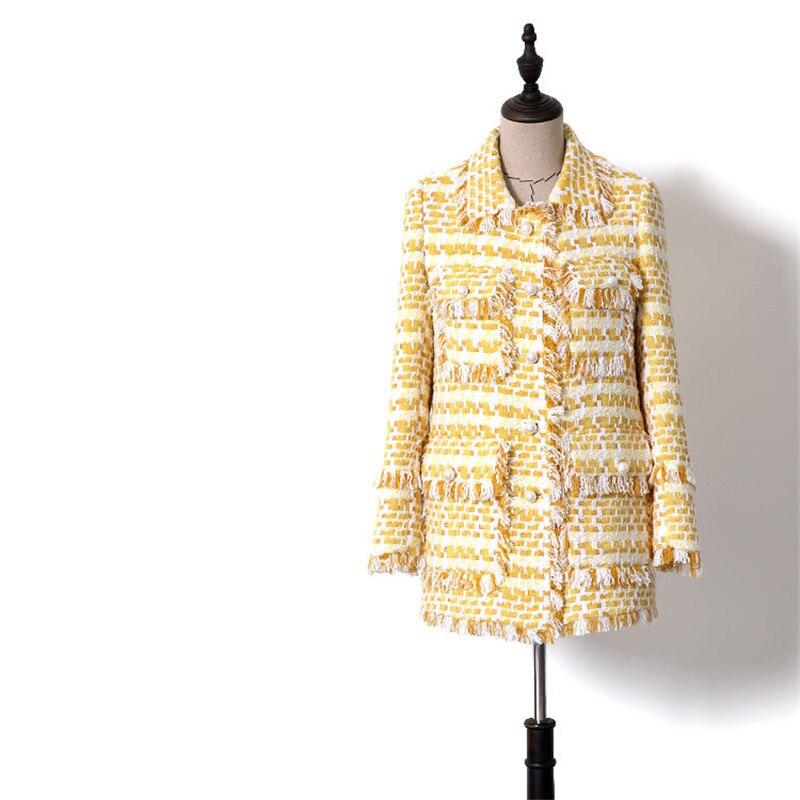 Handmade Luxury Blazer Suits For Women Fashion Plaid Tweed Peter Pan Collar Pearl Buttons Tassel Blazers Coat Yellow
