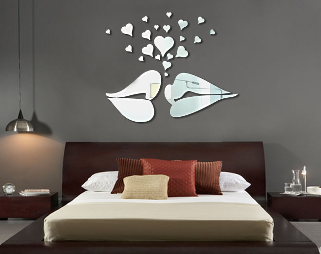 wholesale ikea style acrylic background love kiss mirror
