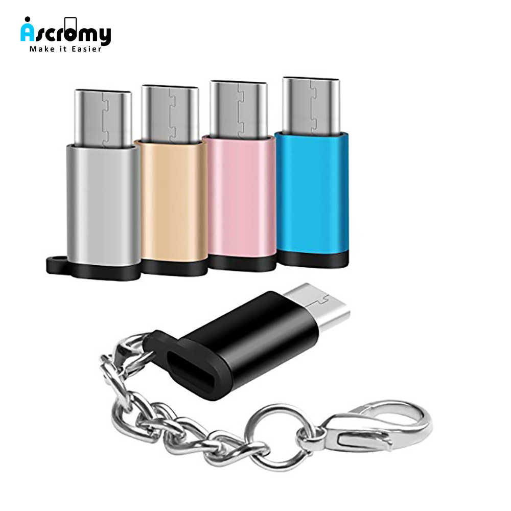 Ascromy 2 sztuk Micro USB do typu C Adapter do Xiaomi Redmi Note 7 Pro Samsung S9 Plus S10 OnePlus 5 5T 6 6T LG V30 USB typu c USBC