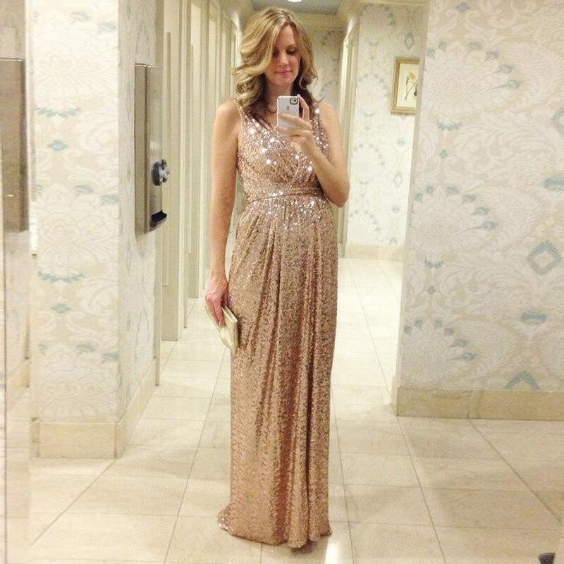 Modern rose gold sequins bridesmaid dresses v neck a line for Made of honor wedding dress