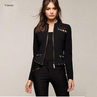 VANLED 2017 New Design Women Jacket Fashion Novelty Casual England Style Spring Autumn Black Women Coat