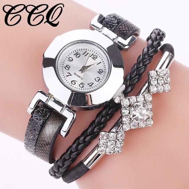 CCQ Brand Women Bracelet Watch Fashion Casual Jewelry Leather Wrist Watch Analog