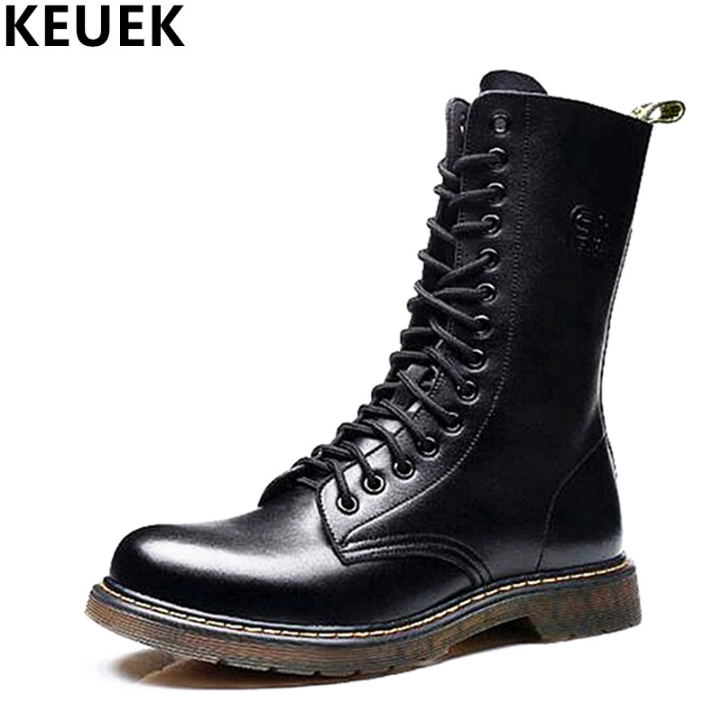 Big size Vintage Men Mid Calf Army boots Lace Up Genuine leather Motorcycle boots Non slip Wear resistant Outdoor work boots 3A