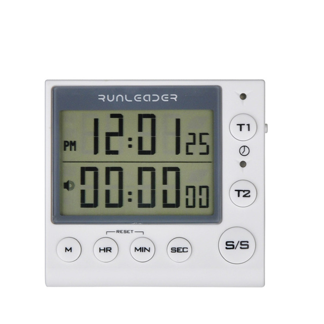 Kitchen Timer Digital Countdown Timer 2 Channel Flashing LED for Lab Electronic Kitchen Homework Exercise Gym Workout Cooking