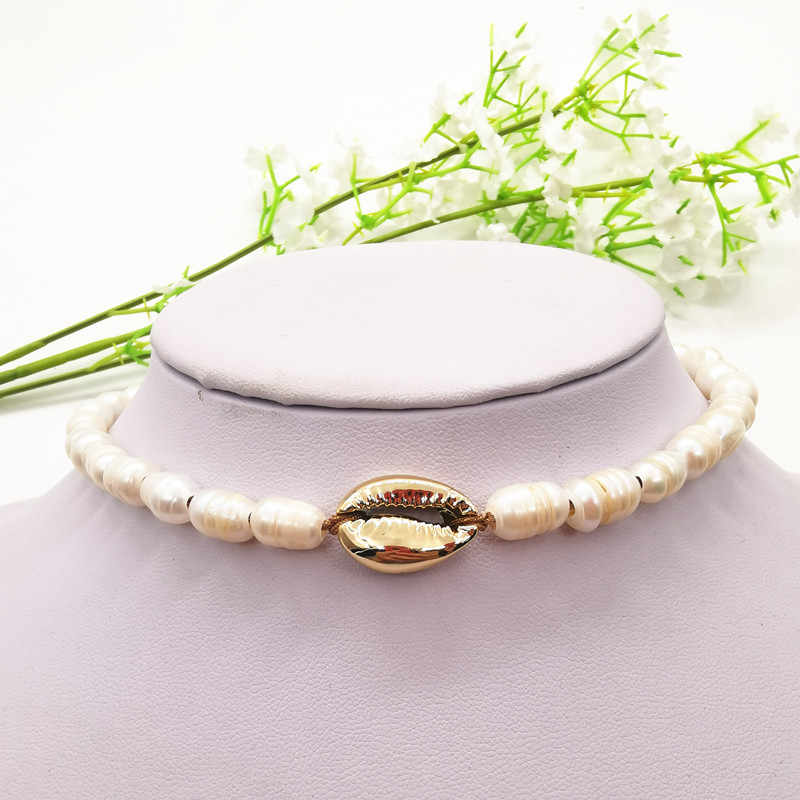 JCYMONG Luxury Simulated Pearl Necklace For Women  Gold Silver Color Metal Shell Bracelets 2019 Boho Fashion Weddings Jewelry