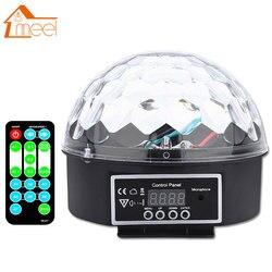 RGB luz de la etapa efecto bola mágica de cristal de Control de sonido lámpara con Control remoto altavoz Disco de luz láser fiesta lámpara