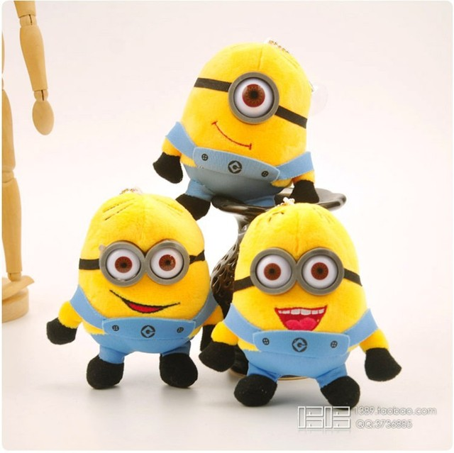 3PCS/Lot 12CM Despicable Me Minions Plush Toys Doll Minion Keychain Plush  Pendant Bob Kevin