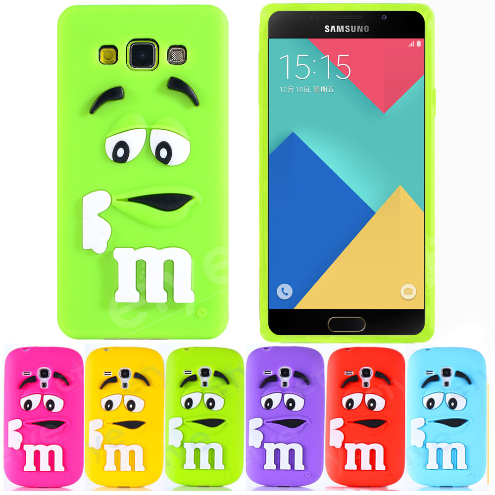 3D Cute Cartoon M&M Case Samsung Galaxy A3 A5 A7 2014 2016 Grand Prime G530 J1 J5 J7 Soft Silicon Cover Colorful Skin NEW  -  goodschina store