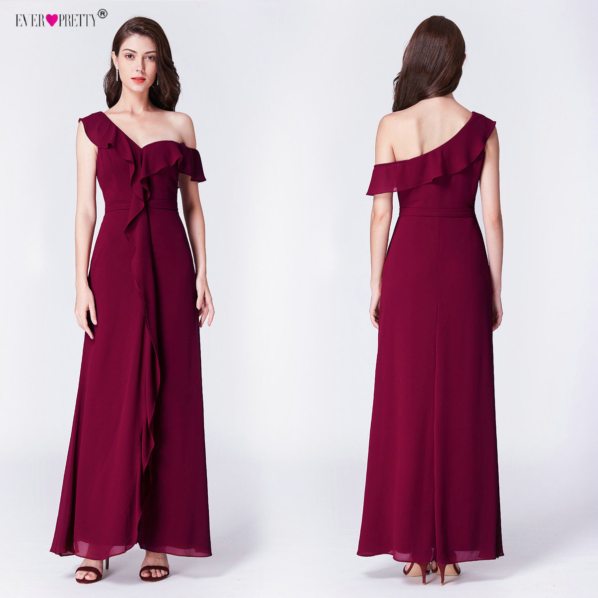 Burgundy Evening Dresses Ever Pretty Elegant Cheap A-Line Off Shoulder Chiffon Long 2018 Sexy Wedding Guest Gowns