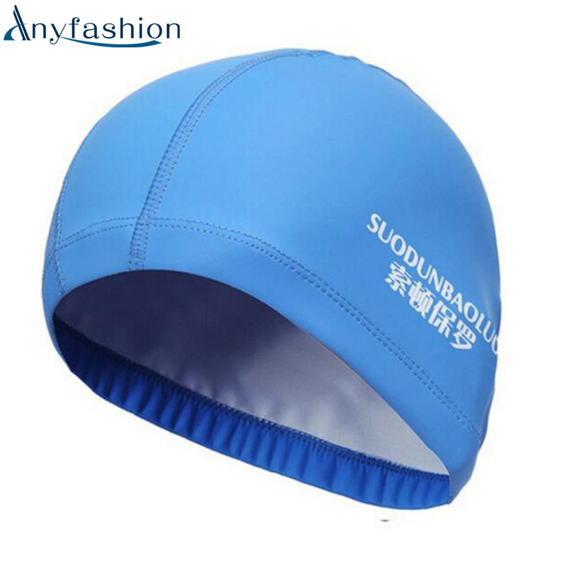 Anyfashion Fabric Protect Ears Long Hair Sports Siwm Pool Swimming Cap Hat Adults Men Women Sporty Ultrathin Adult Bathing Caps
