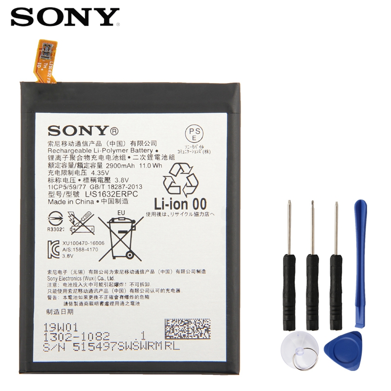 Original Replacement Sony Battery For SONY Xperia XZ F8331 F8332 DUAL LIS1632ERPC Genuine Phone Battery 2900mAh
