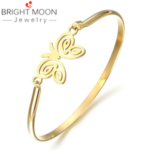 BRIGHT MOON Brief Design Rose Gold Bangle Beautiful Butterfly Girl Charm Bracelet Best Gift Indian for Women Jewelry