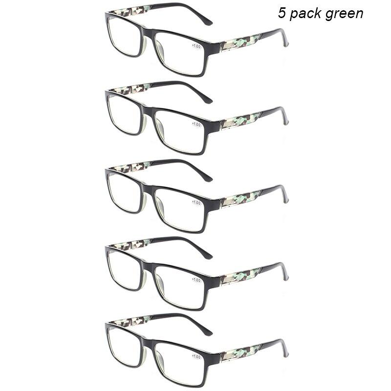 Henotin 4 pack retro printed reading glasses for men and women spring hinge rectangular frames eyeglasses 1.0 1.5 2.0 3.0 4.0
