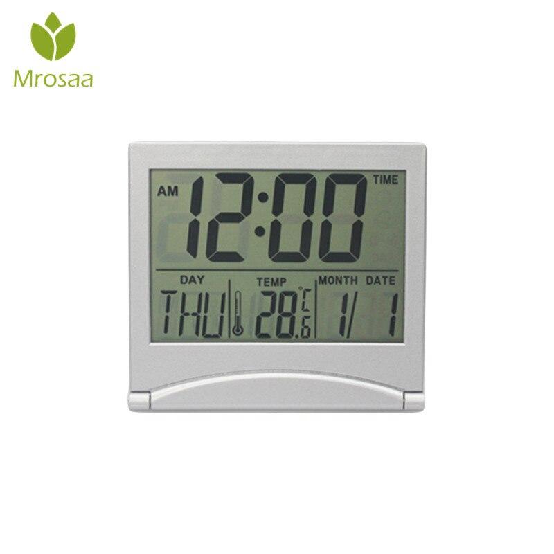 Open-Minded Mrosaa Calendar Led Display Alarm Clock Mini Foldable Snooze Temperature Digital Desktop Table Clocks Weather Electronic Clock Clocks