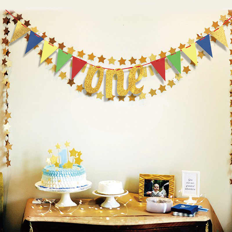 Цвета: золотистый, серебристый буквы один баннер для детей наряд для первого дня рождения на один год для дня рождения; Возраст треугольный гирлянды Baby Shower Юбилей вечерние Декор