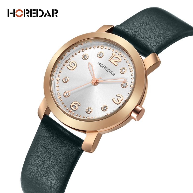 цены HOREDAR Watches Women Fashion Watch 2018 New Elegant Ladies Leather Wristwatch Waterproof Female Clock Montre Femme Reloj Mujer