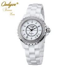 Onlyou Marca Mujeres Hombres Reloj de Cuarzo Con Diamantes De Lujo Relojes De Cerámica Señoras Reloj de Vestir de Negocios Partido Amantes Reloj 6902