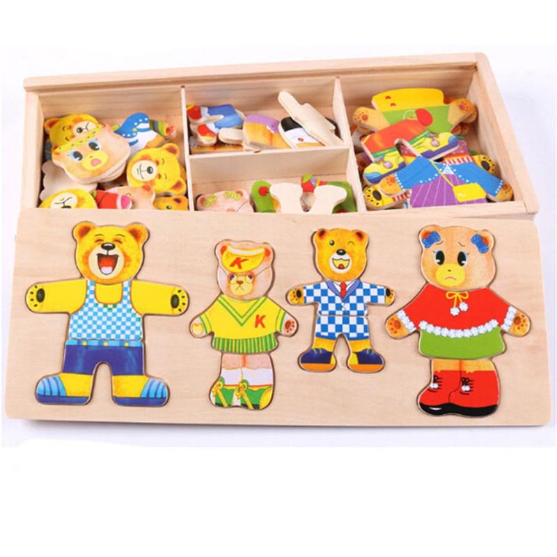 Cartoon 4 sztuk niedźwiedź sukienka zmiana Puzzle drewniane zabawki Montessori edukacyjne zmień ubrania zabawki dla dzieci prezent