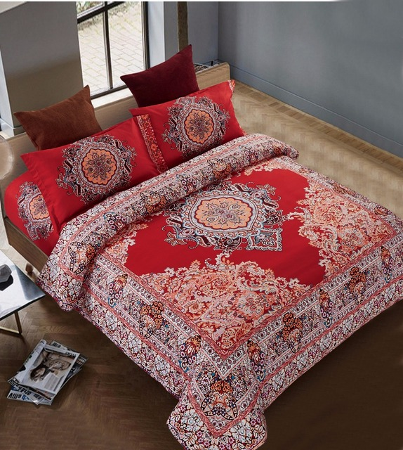 Exceptional 4pcs Chinese Wedding Red Tone Boho Style Coverlet Double Bed Bohemian  Bedding Sets