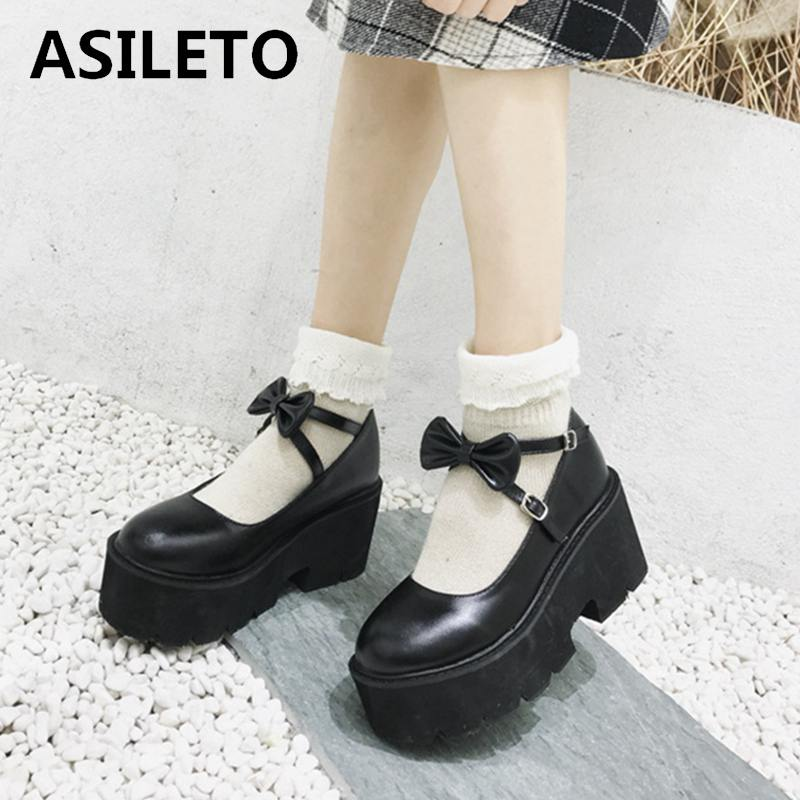 ASILETO Spring Autumn High Heel Cosplay Lolita Shoes bow knot Buckle Women Pumps Wedges Brand Lady