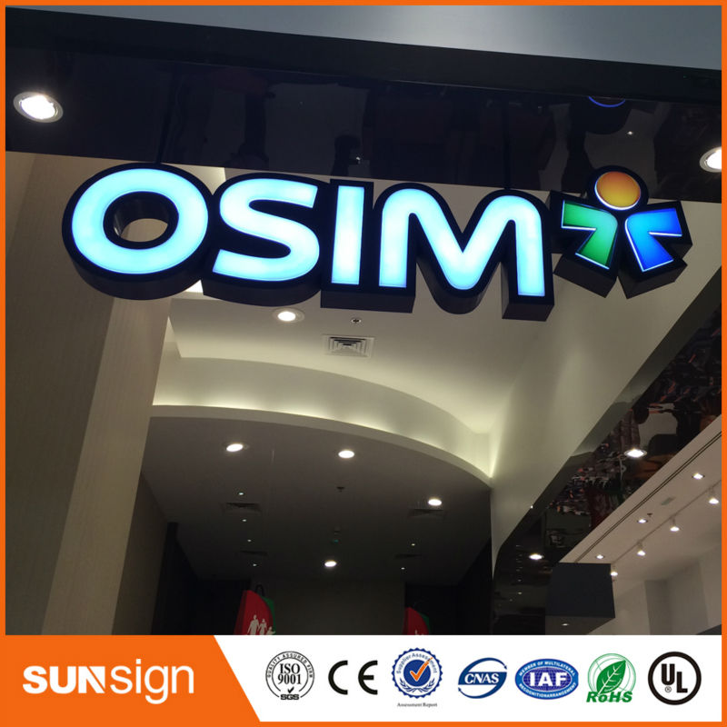 DIY Coffee Store Advertising Chrome Stainless Steel LED Letter Sign