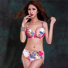 Большие женские сексуальные цветочные бикини 4 цвета купальники большой бюстгальтер чашка Алмазная печать бикини купальный костюм 6XL 7XL купальник