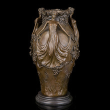ATLIE BRONZES Antique Bronze Statues Vase Sculpture Vintage Figurines Home Decoration