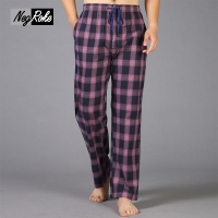 Spring 100 Cotton Casual Plaid Sleep Bottoms Men Simple Pijamas Lounge Trousers Sheer Men Sleep Pants