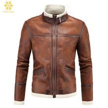 Calipso Ogygia Winter Men's Lambskin Brown Leather Jacket Black Slim fit Biker Motorcycle jacket Faux Fur Coats Brand Colthing цена 2017