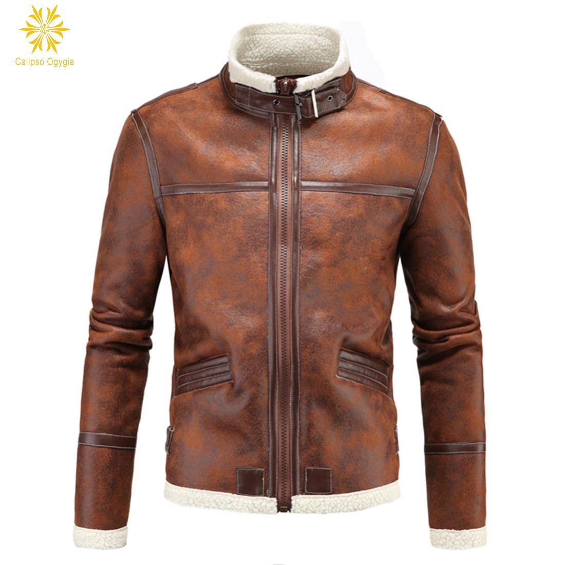 Calipso Ogygia Winter Men's Lambskin Brown Leather Jacket Black Slim fit Biker Motorcycle jacket Faux Fur Coats Brand Colthing