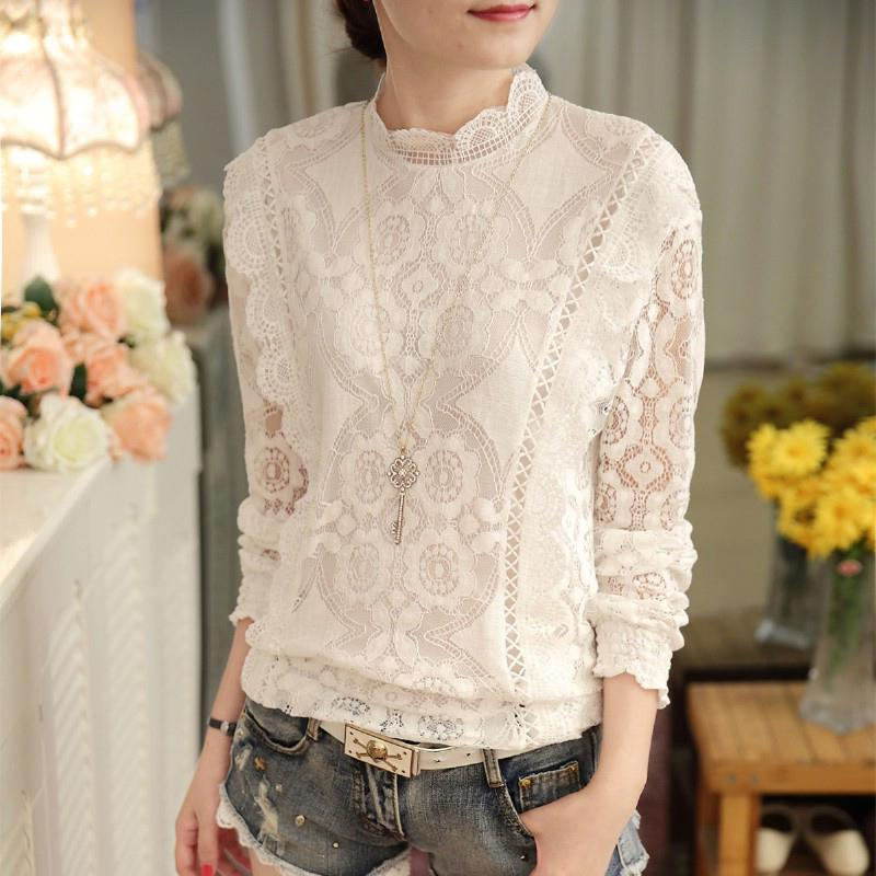 Yfashion Lace Solid White Blouse Women Summer Chiffon Fashion Lady Standing Collar Long Sleeve Shirts Blouses for Female