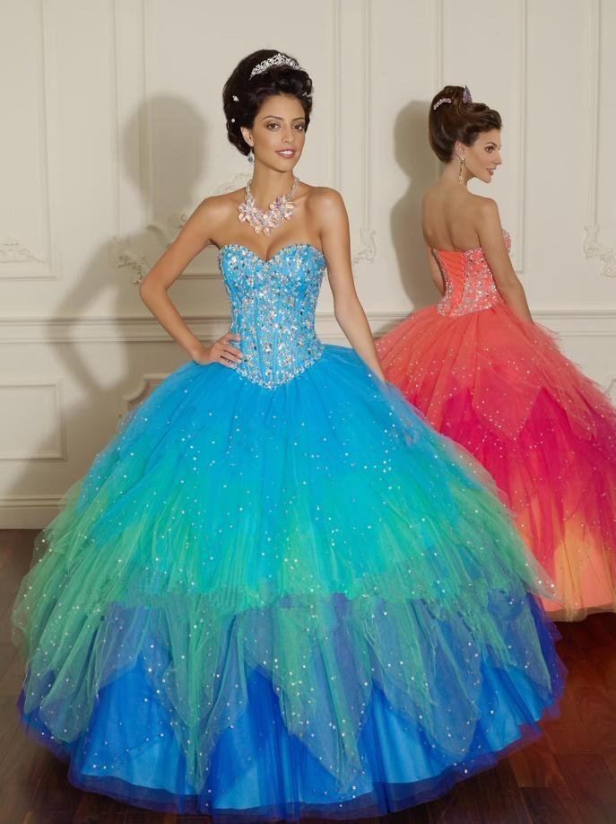 Sweetheart Sleeveless Multi Colors Ball Gown Prom Dress 2018 Sexy Long Women Evening Gown Crystal