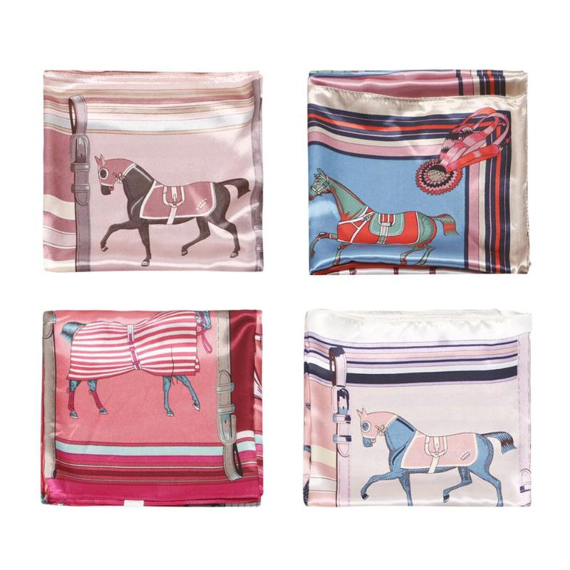 Fashion Women Shawl Horse Print Square Scarf Neck Tie Wrap Band Casual Decoration Accessories Gift Female Ladies Fashion Match