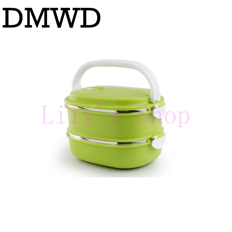Stainless steel portable insulation heating lunch boxes rectangular student children lunchbox two layers food snack Container 1 5l mini lunch box stainless steel liner electric food heating insulation boxes for home and car use eu us plug 220v 12v 24v