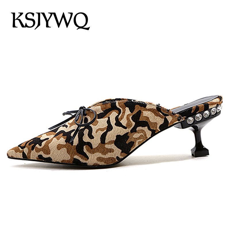 KSJYWQ Women's Leather Mules 6 CM High Heels Pointed-toe Summer Slippers Sexy Ladies Party Pumps Woman Shoes Box packing 891 ksjywq plus size women red pumps slip on summer dress shoes 10 cm high heels sexy pointed toe woman stilettos box packing 1259 1
